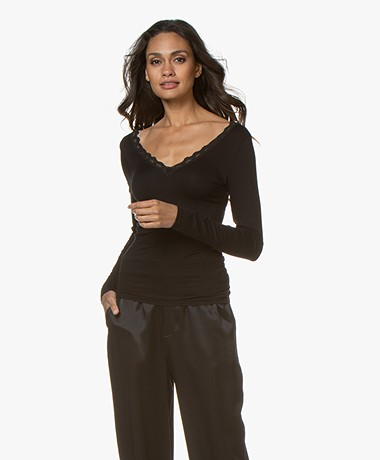by-bar Basic Long Sleeve with Lace - Black
