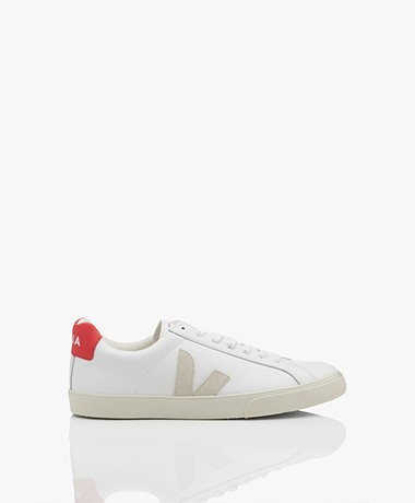 VEJA Esplar Low Logo Leren Sneakers - Wit/Natural/Pekin