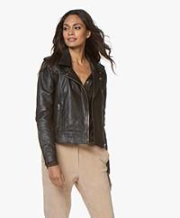 by-bar Leather Biker Jacket - Black