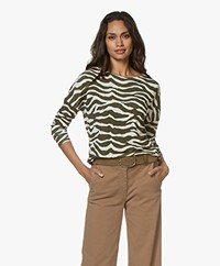no man's land Zebra Print Long Sleeve - Moss