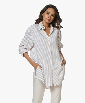 Filippa K Nina Striped Blouse - Ivoor/Powder/Snow