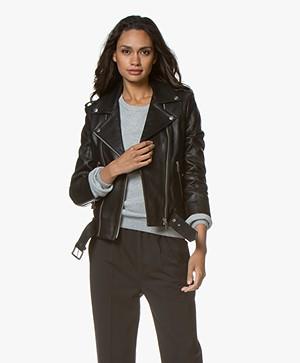 Anine Bing Cropped Leather Moto Jacket - Black