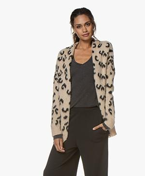 LaSalle Jacquard Leopard Cardigan - Beige