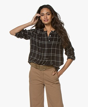 by-bar Neeltje Checkered Blouse - Black