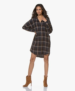 by-bar Oversized Geruite Blousejurk - Midnight