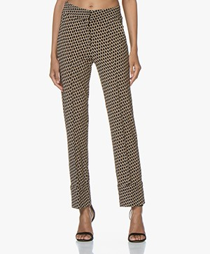 SIYU Salina Tech Jersey Print Pantalon - Beige/Off-white/Black