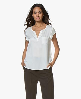 Repeat Silk Cap Sleeve Blouse - Cream