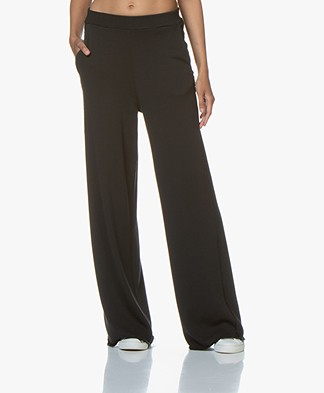 Fine Edge Palazzo French Terry Sweatpants - Black