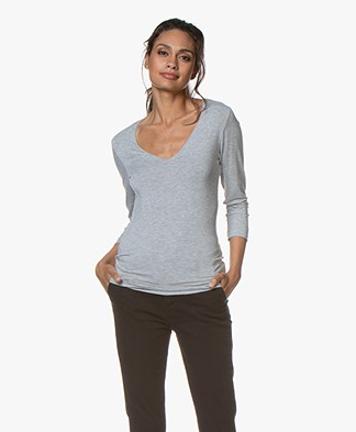 Majestic Filatures Cropped Sleeve T-Shirt with V-neck - Grey Melange