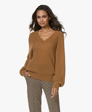 Vanessa Bruno Linda Mohair Blend V-neck Sweater - Camel