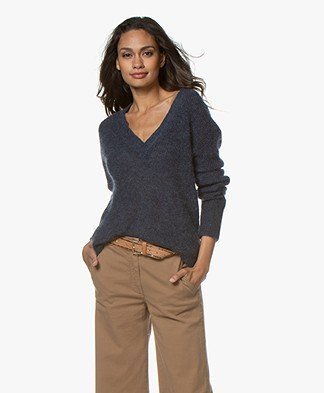 LaSalle V-neck Sweater with Mohair - Navy