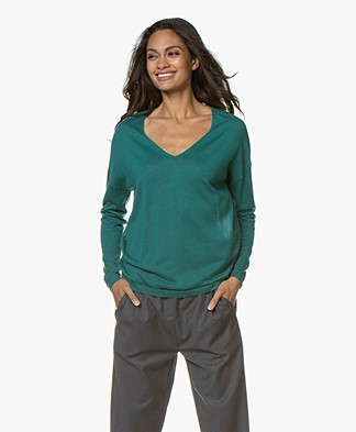 Marie Sixtine Ines V-neck Sweater - Sapin