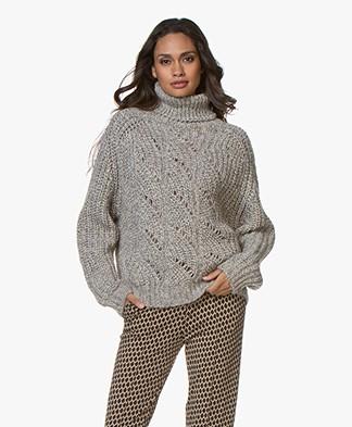 ba&sh Azure Turtleneck Sweater in Alpaca and Wool - Greige