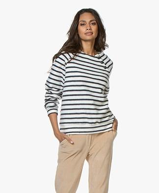 Petit Bateau Mariniere 'Fleece Finish' Sweater - Coquille/Smoking