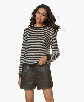 by-bar Gwen Mohair Blend Striped Pullover - Black/Off-white