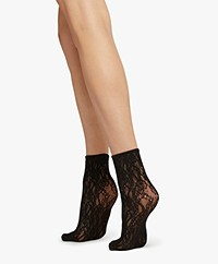 Wolford Ree Mesh Floral Socks - Black