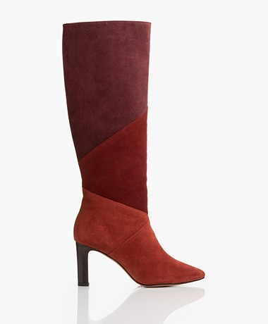 ba&sh Clody Suede Color Block Boots - Burgundy
