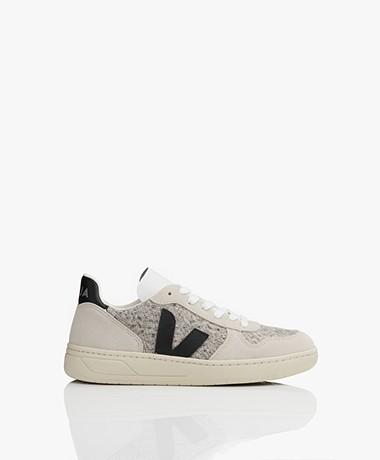 VEJA V-10 Leren Sneakers - Snow/Zwart