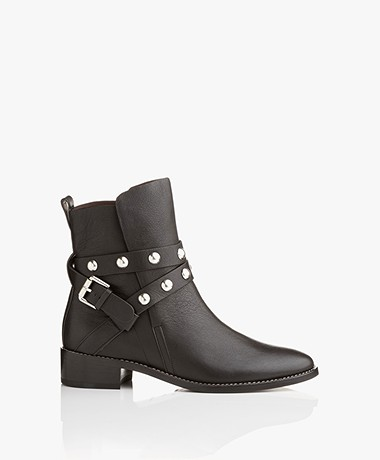 See by Chloé Janis Leather Ankle Boots - Black/Silver