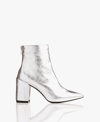 Zadig & Voltaire Glimmer Leather Ankle Boots - Silver