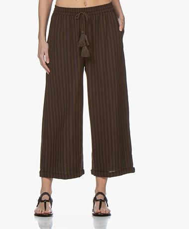 Mes Demoiselles Kerouak Striped Cropped Pants - Black/Brown