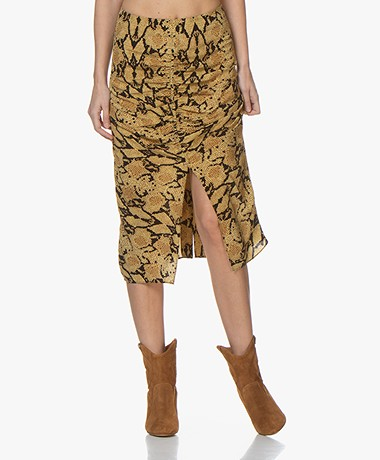 ba&sh Carry Printed Viscose Midi Skirt - Ochre