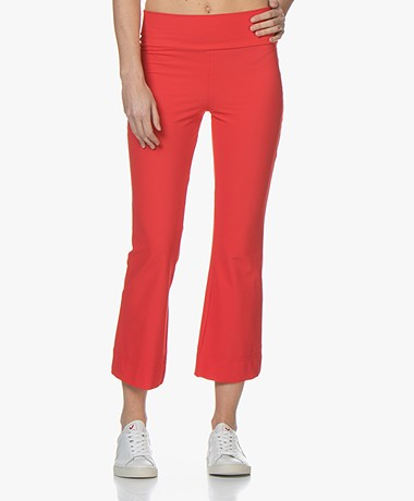 JapanTKY Kaya Travel Jersey Cropped Flared Broek - Japanese Red