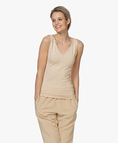 BY-BAR Double V-neck Top with Lace - Nude