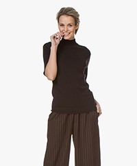 JapanTKY Tora Cotton Short Sleeve Turtleneck Sweater - Black