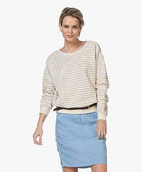 by-bar Becky Sweater met Multi-color Patroon - Off-white
