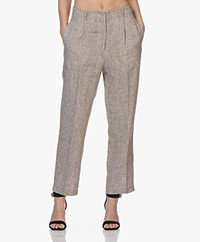 Pomandère Linen Blend Tweed Pants - Black/Brown/Ecru