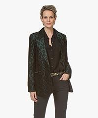 ANINE BING Madeleine Leopard Jacquard Blazer - Emerald