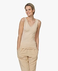 BY-BAR Dubbele V-hals Top met Kant - Nude