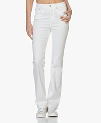 Closed Leaf Flared Stretch Jeans - White