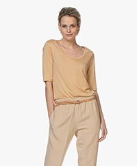 Filippa K Tencel Scoop Neck Tee - Toffee Bei