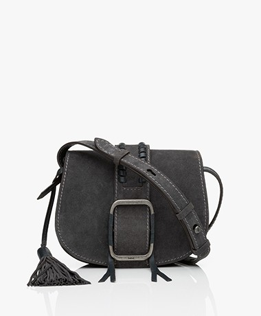 ba&sh Teddy S Suede Leather Shoulder Bag - Carbon