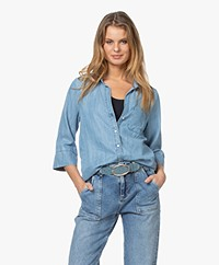 by-bar Zoe Denim Chambray Blouse - Lichtblauw
