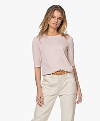 Repeat Bio Cotton Blend Sweater with Elbow-length Sleeves - Rose