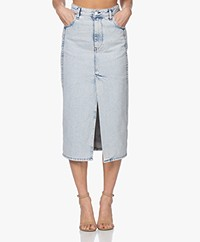 IRO Ulena Denim Midi Kokerrok - Snow Blue