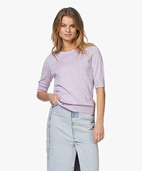 Repeat Bio Cotton Blend Sweater with Elbow-length Sleeves - Mauve