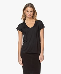 Closed Lyocell Blend U-neck T-shirt - Black