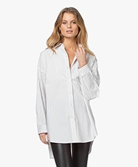 IRO Beauty Oversized Gestreepte Overhemdblouse - Wit/Grijs