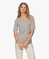by-bar Maya Striped Rib T-shirt - Sand/Black
