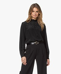 Les Coyotes de Paris Justine Embroidered Silk Blouse - Black