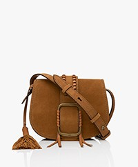 ba&sh Teddy S Suede Leather Shoulder Bag - Cognac