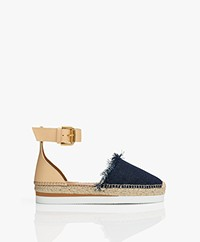 See by Chloé Glyn Espadrille Sandals - Denim Blue/Beige