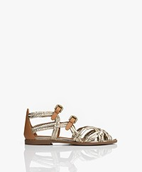 See by Chloé Katie Braided Leather Sandals - Metallic Gold