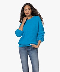 American Vintage Rozy Kid Mohair Blend Sweater - Turquoise