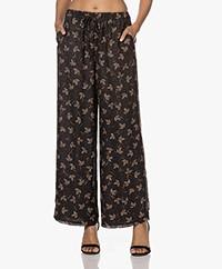 Pomandère Wool-Silk Printed Pants - Black/Multi