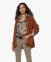 Drykorn Blommie Rib Knitted Open Cardigan - Terracotta Brown